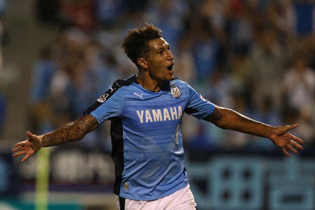 IWATA, JAPAN - AUGUST 23:  (EDITORIAL USE ONLY) Jay Bothroyd (L) of Jubilo Iwata celebrates scoring his team's second goal during the J.League second division match between Jubilo Iwata and Tokushima Vortis at Yamaha Stadium on August 23, 2015 in Iwata, Japan.  (Photo by Kaz Photography/Getty Images)