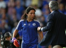 Editorial use only. No merchandising. For Football images FA and Premier League restrictions apply inc. no internet/mobile usage without FAPL license - for details contact Football Dataco  Mandatory Credit: Photo by BPI/REX Shutterstock (4931278ae)  Chelsea's doctor Eva Carneiro appears to have an argument with Jose Mourinho manager of Chelsea    during the Barclays Premier League match between  Chelsea and Swansea  played at Stamford Bridge, London  Barclays Premier League 2015/16 Chelsea v Swansea City Stamford Bridge, Fulham Rd, London, United Kingdom - 8 Aug 2015