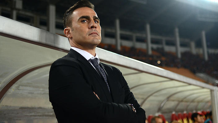 Guangzhou Evergrande's coach Fabio Cannavaro looks on during a soccer match against FC Seoul at the AFC Champions League in Guangzhou in south China's Guangdong province on Wednesday, Feb. 25, 2015. Guangzhou Evergrande defeated Korea's FC Seoul 1-0 on Wednesday.(Photo By Fang Yingzhong/Color China Photo/AP Images)