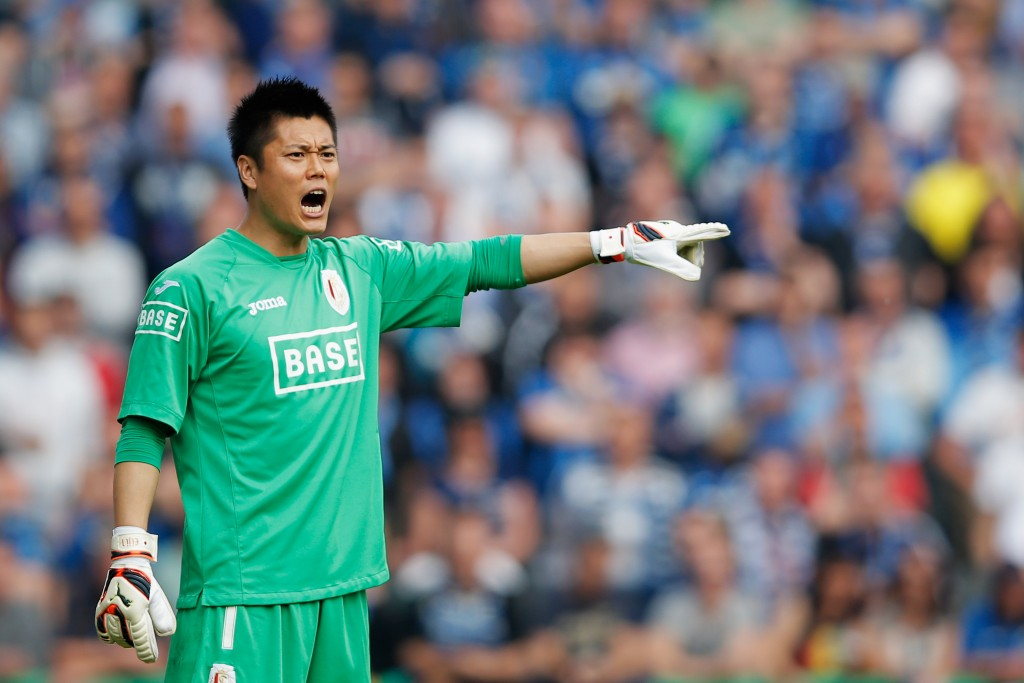 BRUGGE, BELGIUM - APRIL 21:  Standard Liege Goalkeeper, Eiji Kawashima in action during the Jupiler League match between Club Brugge and Royal Standard de Liege at the Jan Breydel Stadium on April 21, 2014 in Brugge, Belgium.  (Photo by Dean Mouhtaropoulos/Getty Images)