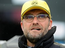 HANOVER, GERMANY - MARCH 21:  Juergen Klopp, head coach of Dortmund looks on prior to the Bundesliga match between Hannover 96 and Borussia Dortmund at HDI-Arena on March 21, 2015 in Hanover, Germany.  (Photo by Nigel Treblin/Bongarts/Getty Images)