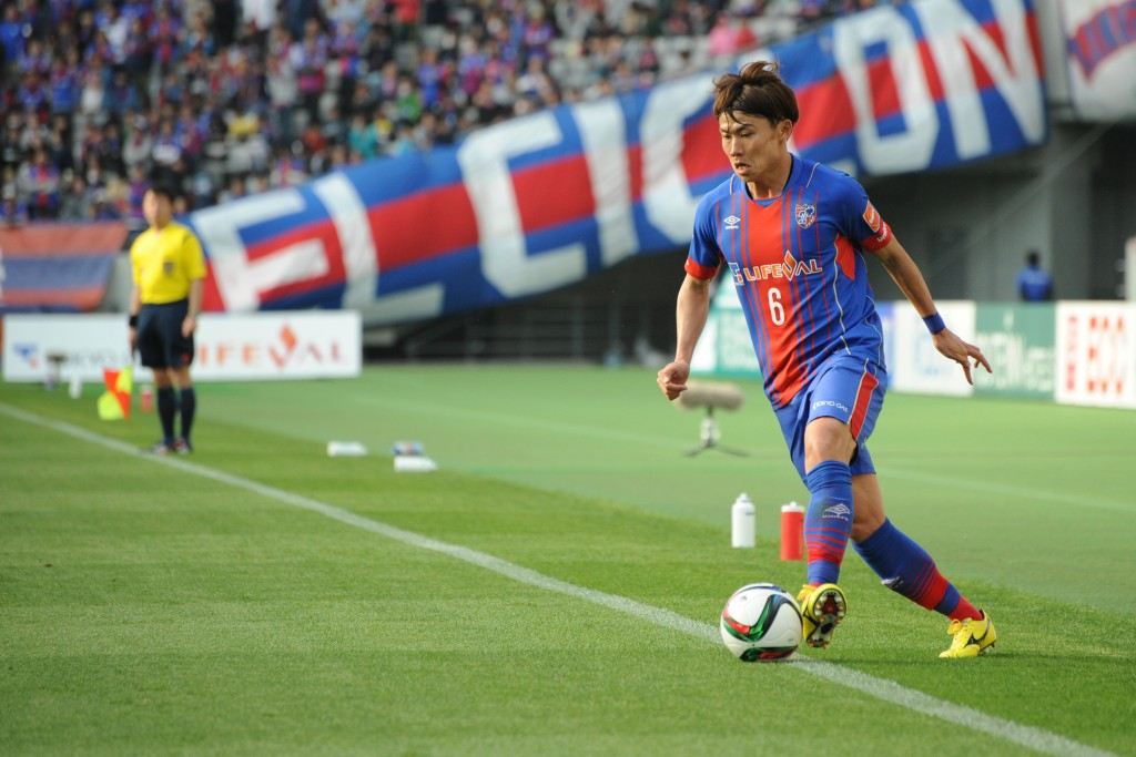 (EDITORIAL USE ONLY) xxx during the J.League match between FC Tokyo and Sanfrecce Hiroshima at Ajinomoto Stadium on April 18, 2015 in Chofu, Tokyo, Japan.