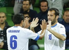 Uzbekistan's Vokhid Shodiev celebrates his goal with teammate Bakhodir Nasimov (L) during their Asian Cup Group B soccer match against Saudi Arabia at the Rectangular stadium in Melbourne January 18, 2015. REUTERS/Brandon Malone (AUSTRALIA  - Tags: SOCCER SPORT)